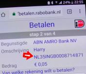 Tikkie échte IBAN van de ontvanger op mobiel