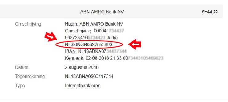 iDEAL afrekening ABN-AMRO herken IBAN van de verkoper
